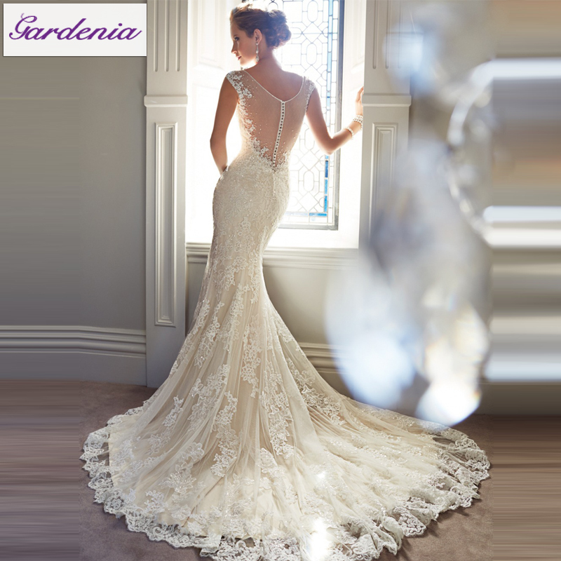 free veil vestido de noiva lace mermaid wedding dress low