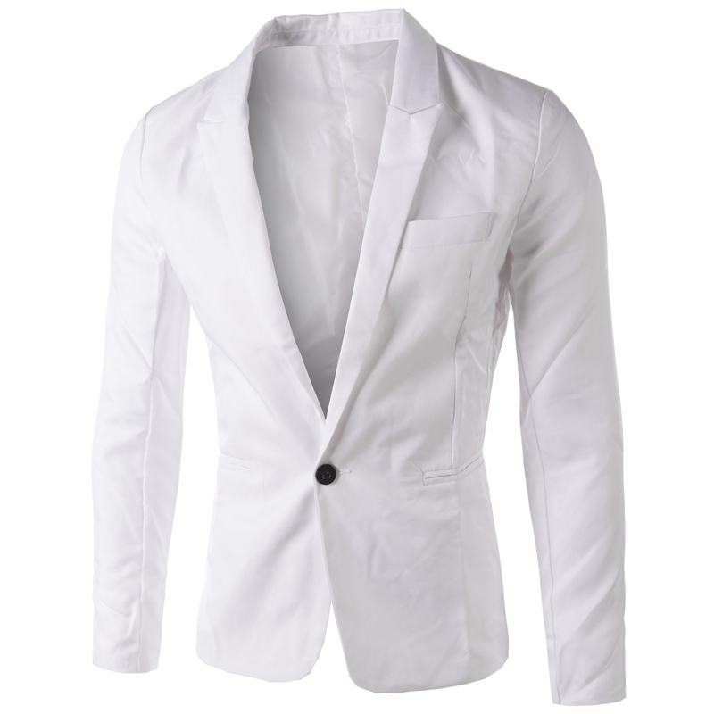 brand white blazer men 2015 new arrival mens slim fit blazer jacket korean stylish single button. Black Bedroom Furniture Sets. Home Design Ideas