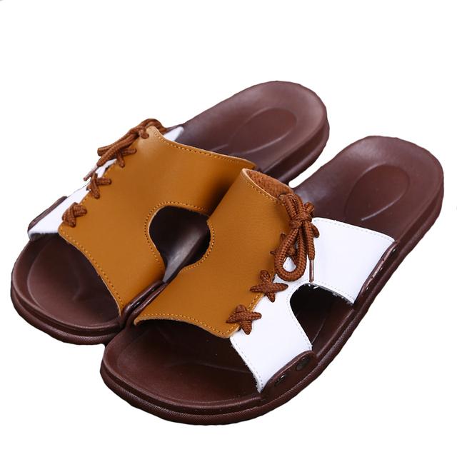2016 моды для мужчин тапочки кожаные сандалии мужчины Новый Повседневная Мужчины ...