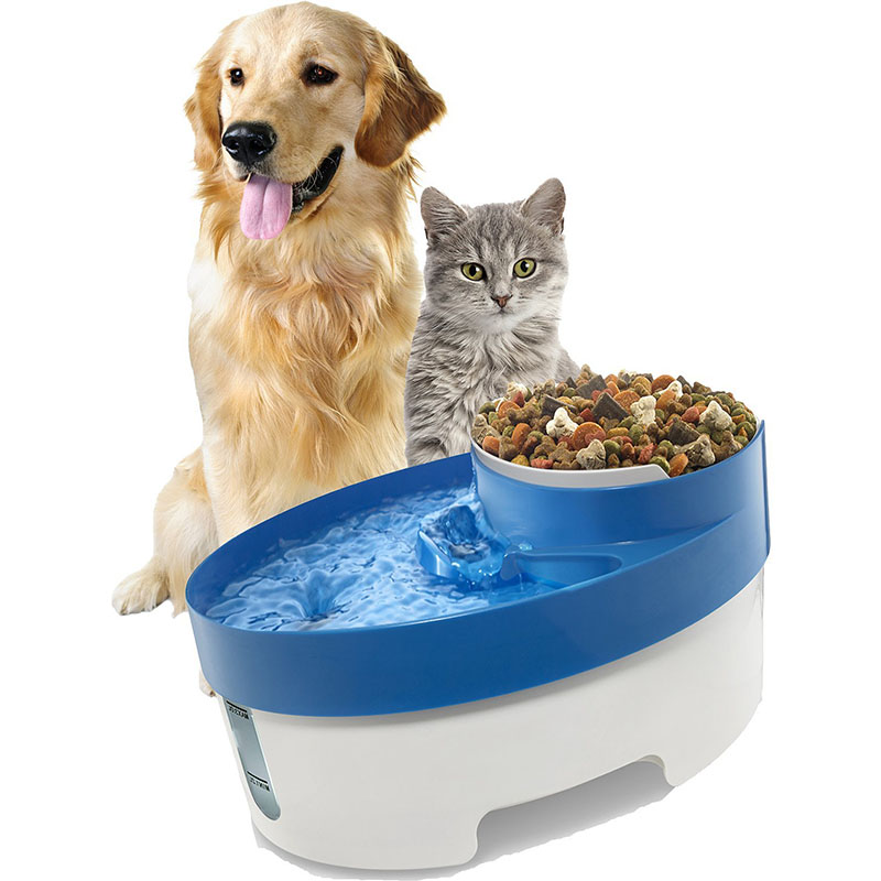 3 in 1 Pet Water Fountain Dog Cat Puppy Feeder Bowl Blue Color Electric Drinking Food Bowl cat drinking fontaine pet dog bowl(China (Mainland))