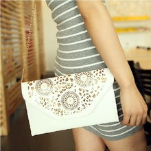FREE SHIPPING 2015 spring and summer women's preppy style cutout envelope messenger bag one shoulder cross-body bag small