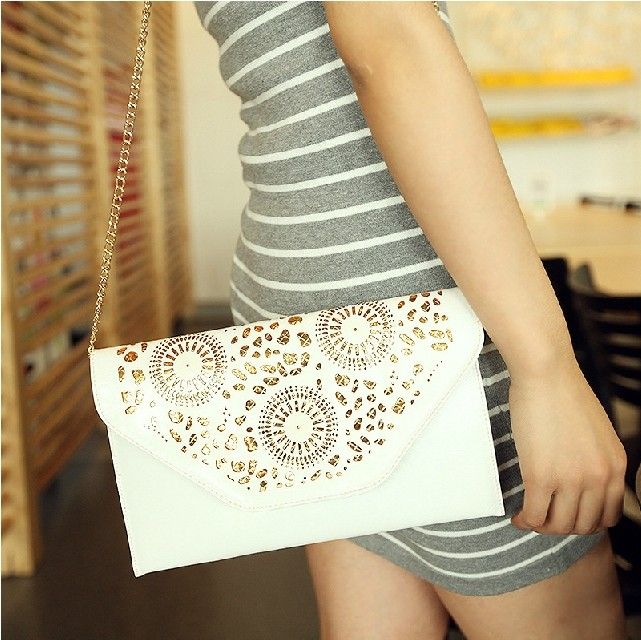 FREE SHIPPING 2015 spring and summer women s preppy style cutout envelope messenger bag one shoulder