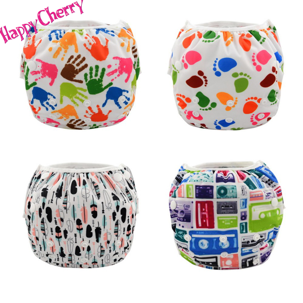 Happy Cherry Printed TPU Swim Diaper Washable Baby Unisex Cloth Diaper Leakproof Reusable Adjustable Among 3 size(China (Mainland))