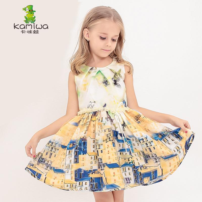 KAMIWA 2015 Fashion Butterfly Pattern Mesh Printed Teenage Girls Dresses Summer Style Children Clothing Beach Baby Kids Clothes(China (Mainland))