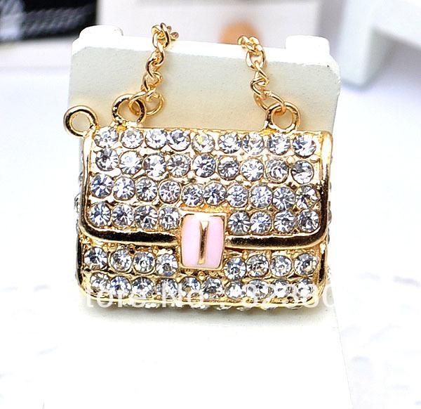 Flatback 3D Alloy Purse Bag Gold Plated Rhinestone Decoration DIY Charm Supplies Handmade Case Accessories 6PCS cabochon