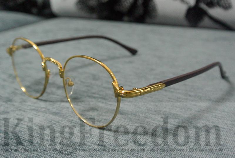 Vintage Oval Gold Eyeglass Frame Man Women Plain Glasses ...