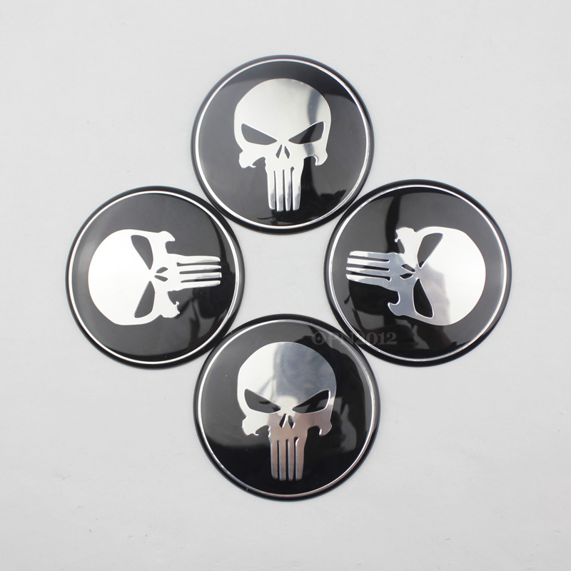 New 65MM 4x Steering Car Tyre Tire Wheel Center Hub Cap Punisher Emblem Badge Decal Sticker for VW BMW Ford Toyota #3824*4(China (Mainland))