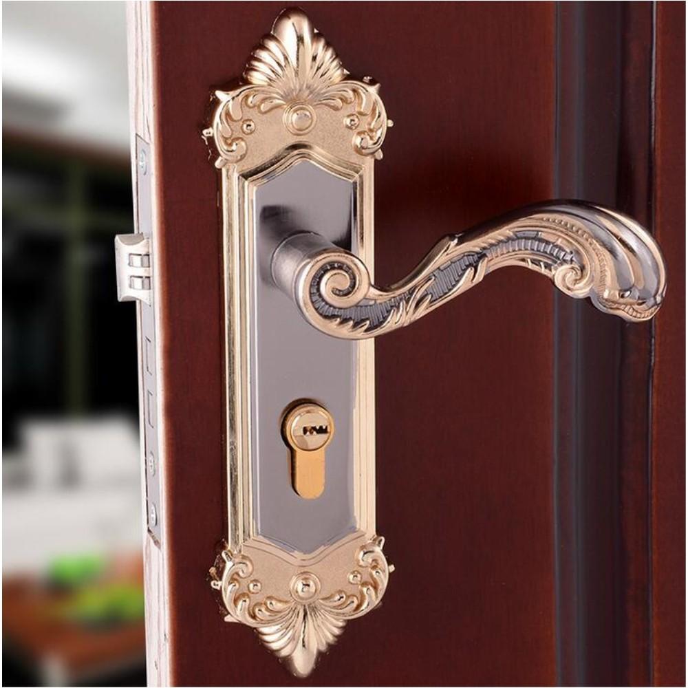 Antique Bronze Mechanical Handle Interior Door Locks Set Safe Gold Shiny 91-02(China (Mainland))