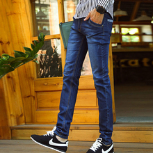 2016 New Korean Fashion Casual Men Skinny Jeans Male Trousers Mid Waist Slim Elastic Washed Pleated Scratched Pencil Denim Pants
