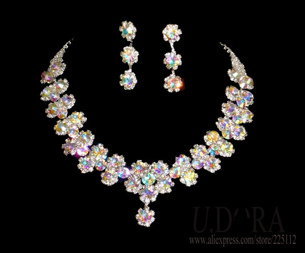 2014 Fashion Necklace Earrings AB Crystals Flower Jewelry Set Bridal - UDORA store