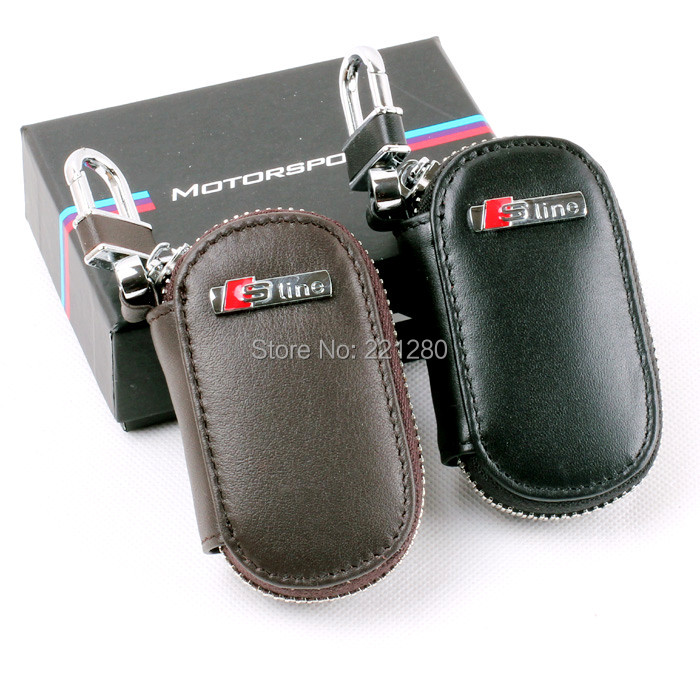 SLINE REAL LEATHER CAR REMOTE KEY CHAIN RING BAG CASE HOLDER COVER FOR Q3 Q5 Q7 S3 S4 S5 S6 S8 A3 A4 A7 A6 A8 - Carsins store