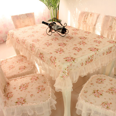 Dining table cloth cushion chair covers lace cloth tablecloth table cloth square table cloth set romantic rustic(China (Mainland))