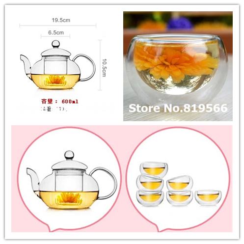 hot sale heat resistant clear glass kung fu teapot set with filter 6 double wall cups