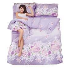 Plants Flower active printing Bedding Set Polyester Duvet Cover Bed Sheet 2pcs Pillowcases Bedroom Textile Bed Linen(China (Mainland))