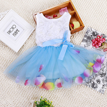 Summer baby girls dress girl flower rose petal hem dress candy colorl cute dress vestidos infantis 1-2 year Free shipping(China (Mainland))
