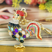 Pretty Chic Opals Cock Rooster Chicken Keychains Crystal Bag Pendant Key ring Key chains Christmas Gift Jewelry Llaveros K131(China (Mainland))
