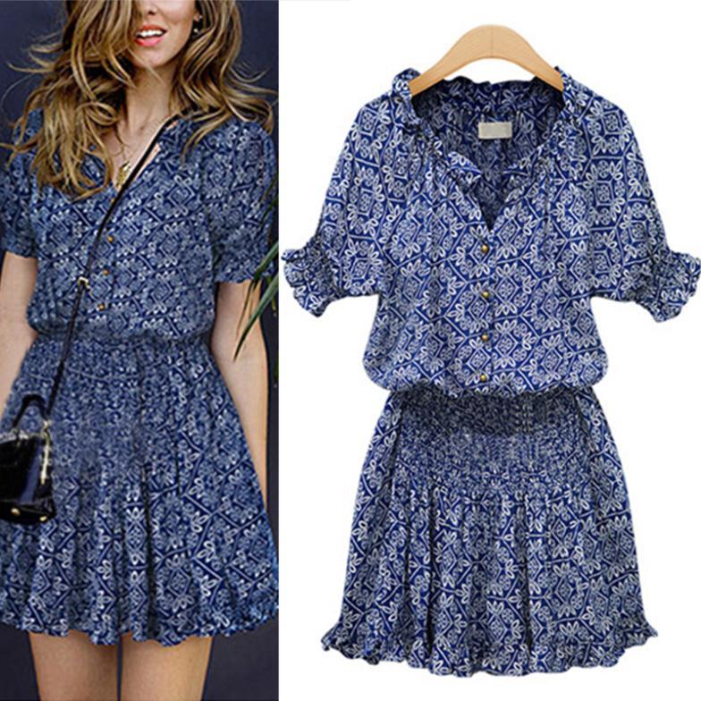 Lady women Mandarin Collar V Neck Elastic Short Sleeve Print Summer Popular mini dress 25JE3104