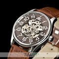 SEWOR Mens Gold Tone Skeleton Transparent Mechanical Watch Men fashion NEW wristwatch
