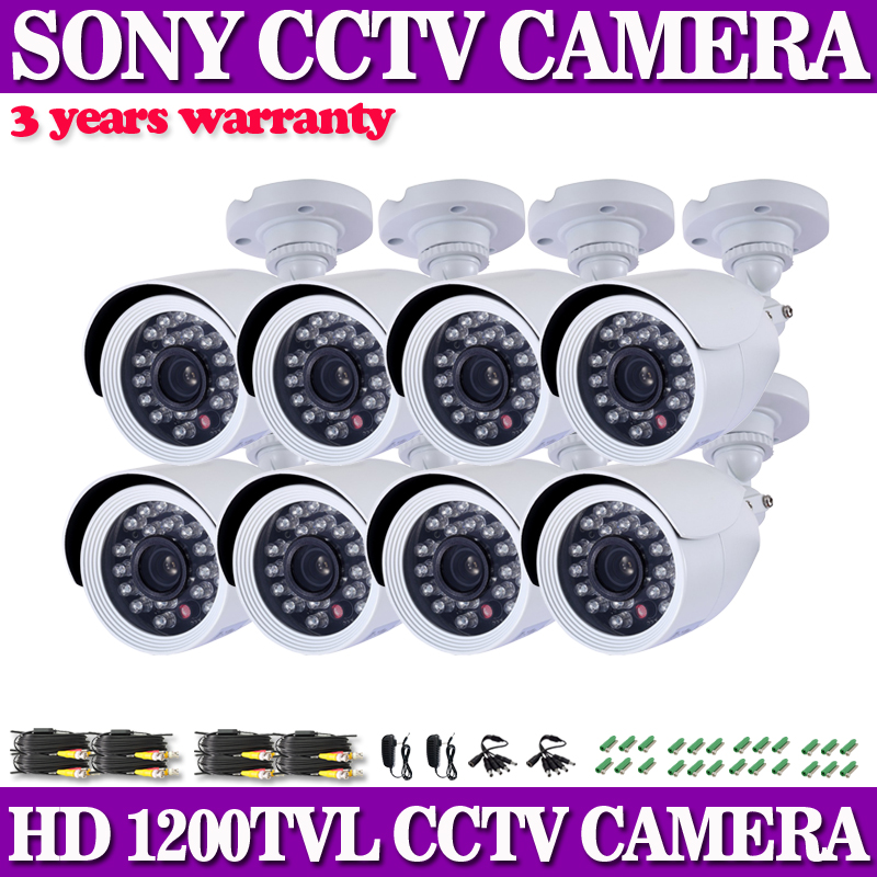 8X HD 1200TVL 1/3 SONY CCD IR Color Outdoor Waterproof Security CCTV Camera Kit<br>
