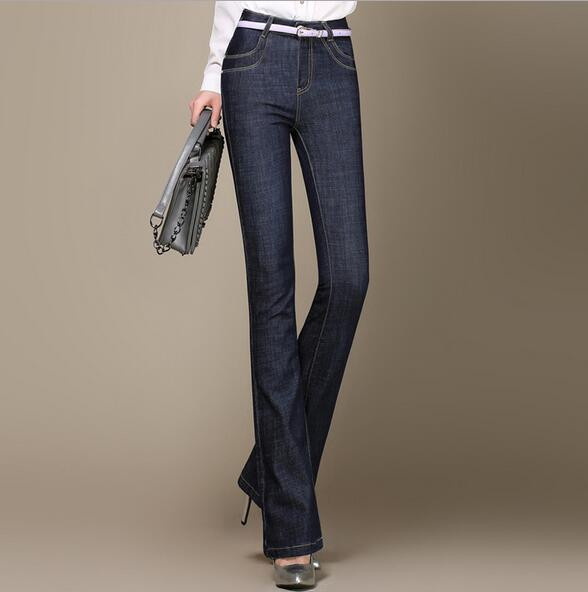 New arrival women flare denim pants fashion plus size jeans casual thin trousers slim high waist T485