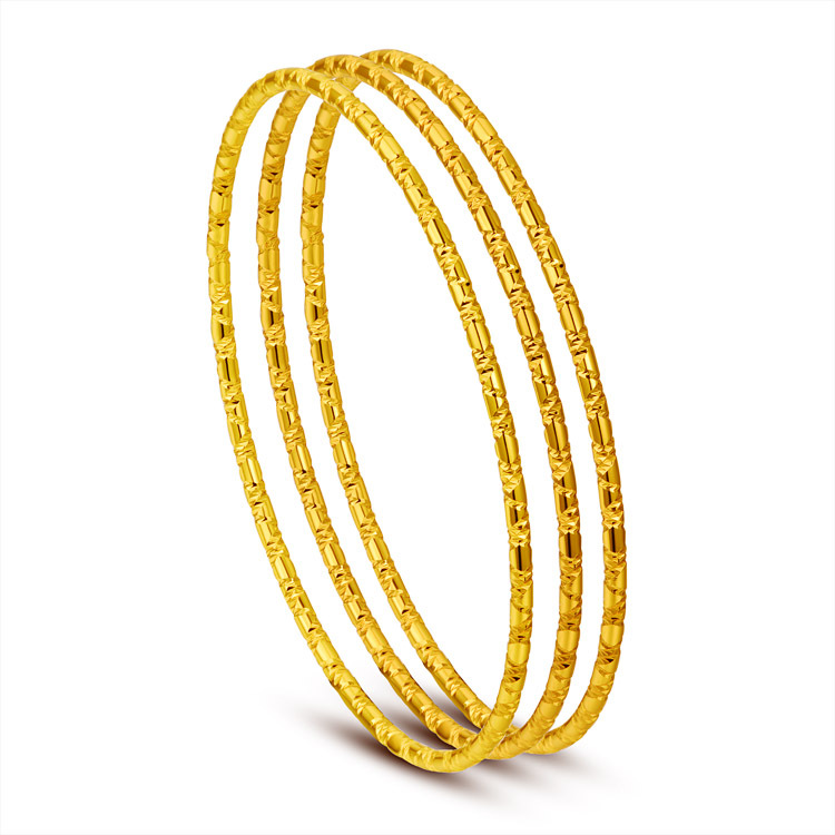 22k real yellow gold filled 3 rounds set beads textured thin bracelets & bangles for women girls bohemia jewelry wholesale(China (Mainland))