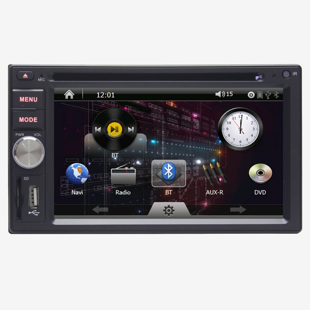Universal 6.2 Inch Double Din Car DVD Player GPS Navigation with Radio Audio Stereo Bluetooth SD USB Steering Wheel Control(China (Mainland))