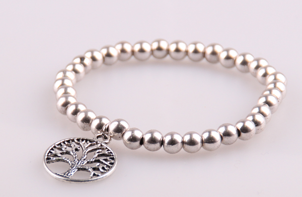 Free shipping 6mm ALLOY BEAD AND LIFE TREE HEART OWL CHARM STRETCH BRACELET(China (Mainland))