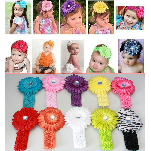 "AHO158, Gerbera Daisy Flower Clips +1.5"" Elastic Stretch Crochet Headband Toddler Infant Headbands Baby Hair Jewelry Headwear(China (Mainland))"