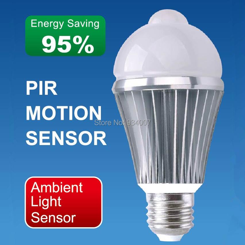 Factory Wholesale 36pcs/Lot A60 E27 LED 5W 10*5730SMD 450LM PIR Infred Motion Sensor Light Bulb AC85-265V DHL Free Shipping(China (Mainland))