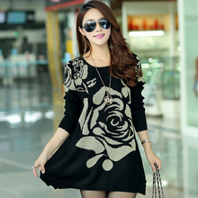 Big yards long sleeve O-neck cashmere sweater retro flower dress 2015 autumn and winter fashion Europe and America Y1205-69F(China (Mainland))