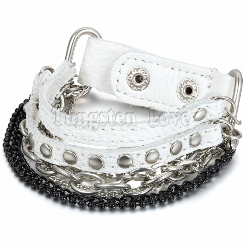 Fashion Men's Alloy Leather Bracelet Bangle Cuff Black Silver Ball Curb Chain Punk Rock Biker Adjustable(China (Mainland))