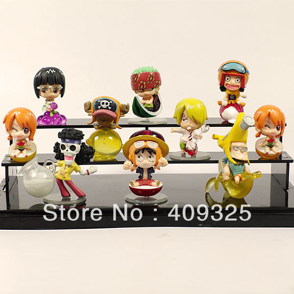 One Pieces figure sets mugiwara pirates fruit version 10 styles for 10PCS/set PVC 5-6cm Height Free shipping