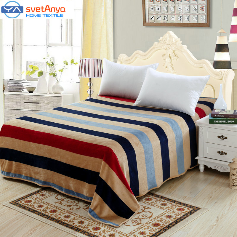Striped Plaid Flannel Fleece blankets print soft twin full double queen king size Blanket winter Bedsheet(China (Mainland))