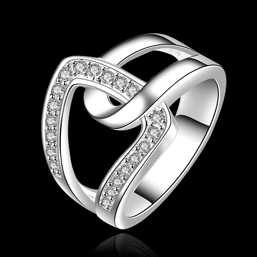 High Quality 10Pcs Engagement Brand Rings For Women Gift Jewelry Copper Zircon Silver Clear Crystal Cuff Knot Rings China(China (Mainland))