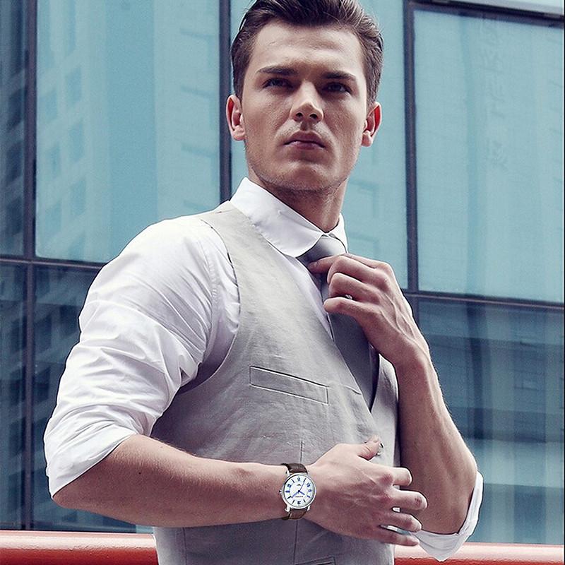 2016 New Men watches Top Brand Luxury Quartz Watch Fashion Genuine Leather clock Classic Business relojes