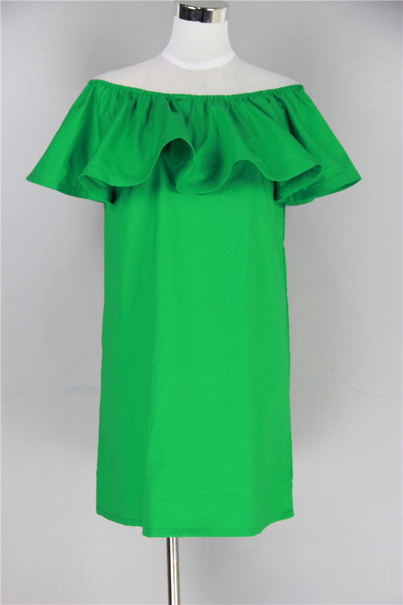 summer dress 2015 hot gagaopt Ruffle Off Shoulder Dress leisure with simple and comfortable cotton dress(China (Mainland))