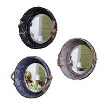 Iluminador Maquiagem Nostalgic Retro Round Wooden Crafts Household Ornaments Hanging Mirror(China (Mainland))