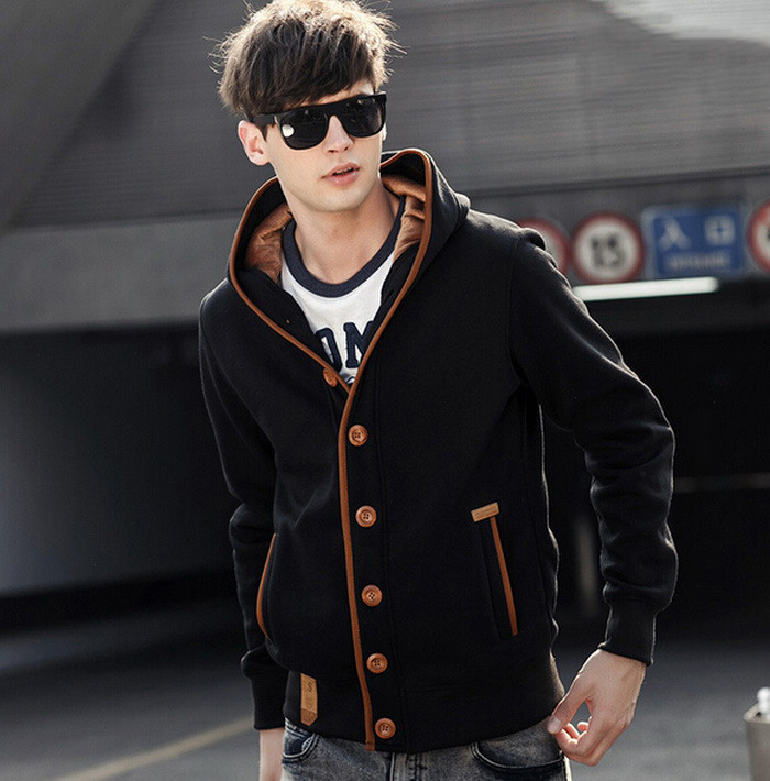 2015 Autumn Winter Fashion Men Hoodies Sweatshirts Fleece Elbow Patch Hooded Single Breasted Male Casual Sweatshirt Jacket(China (Mainland))