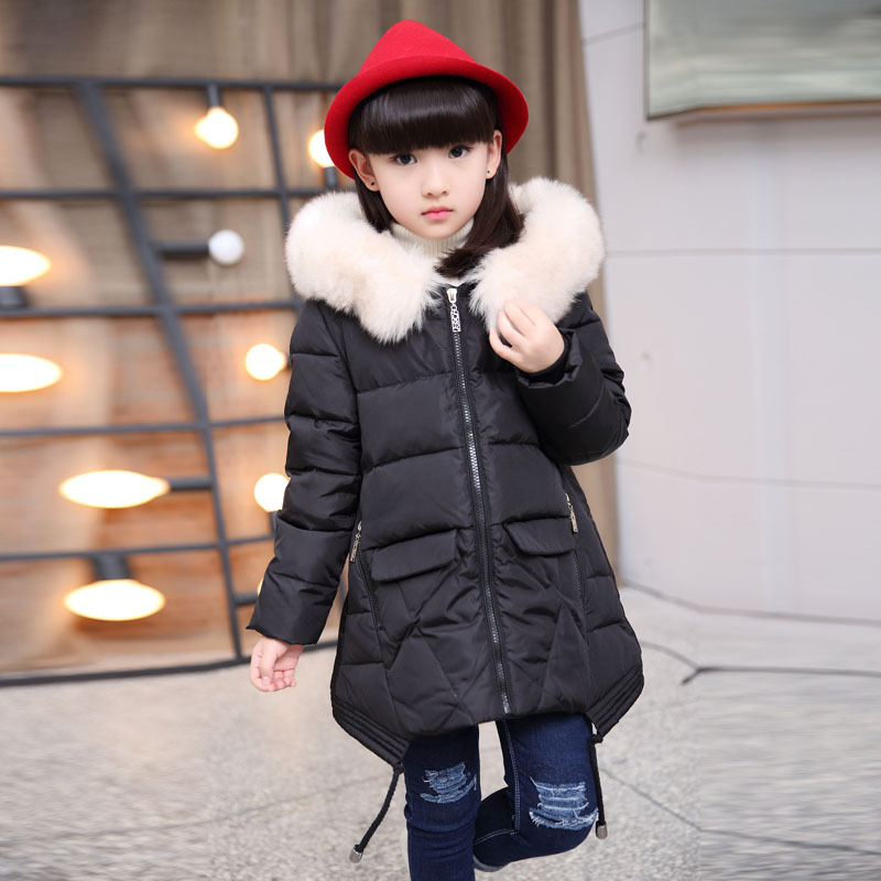 New Thickness Warmer Down Jacket For Girl Fashion Kids Winter Jacket Hooded Girls Winter Coat snow clothes