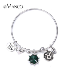 eManco birthstone twelve constellations fine bangles for lovers' vintage round LOVE heart letters bangle gift pulseras mujer(China (Mainland))