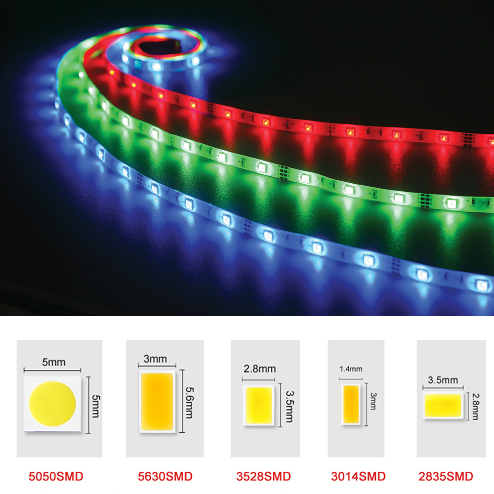 DC12V RGB LED Strip Light SMD 5050 5630 3528 2835 Fita Led string Ribbon tape Bar Neon New Year Christmas Decoration Lampada(China (Mainland))