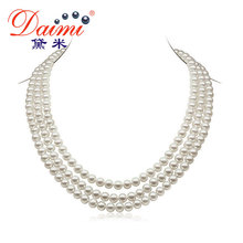 DAIMI 6-7mm Natural Pearl  Necklace 3 Strands Round  White Freshwater Pearl Necklaces Chunky Necklace(China (Mainland))