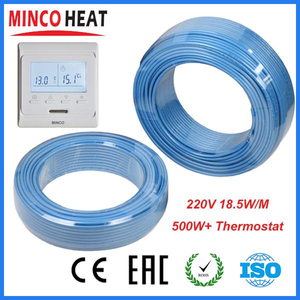230В одиночный проводник подпольного нагревательный кабель 500 Вт + Программируемый Термостат