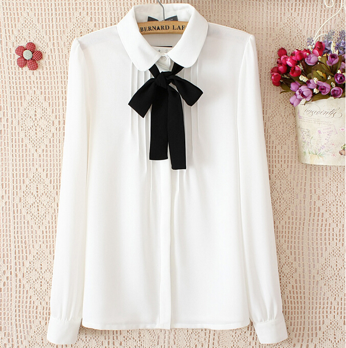 Women'S White Blouse With Tie 26