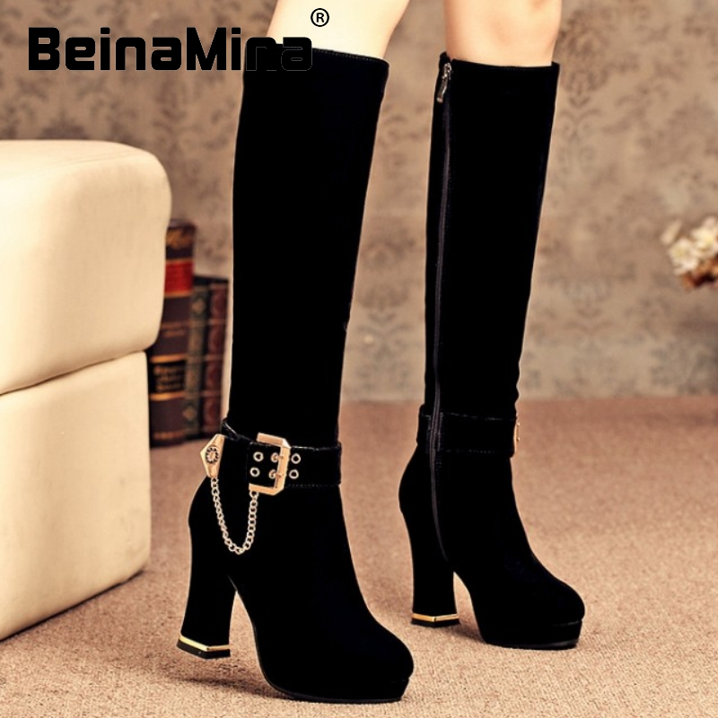women high heel over knee boots riding winter warm snow botas fashion quality long boot heels footwear shoes P20049 size 34-40
