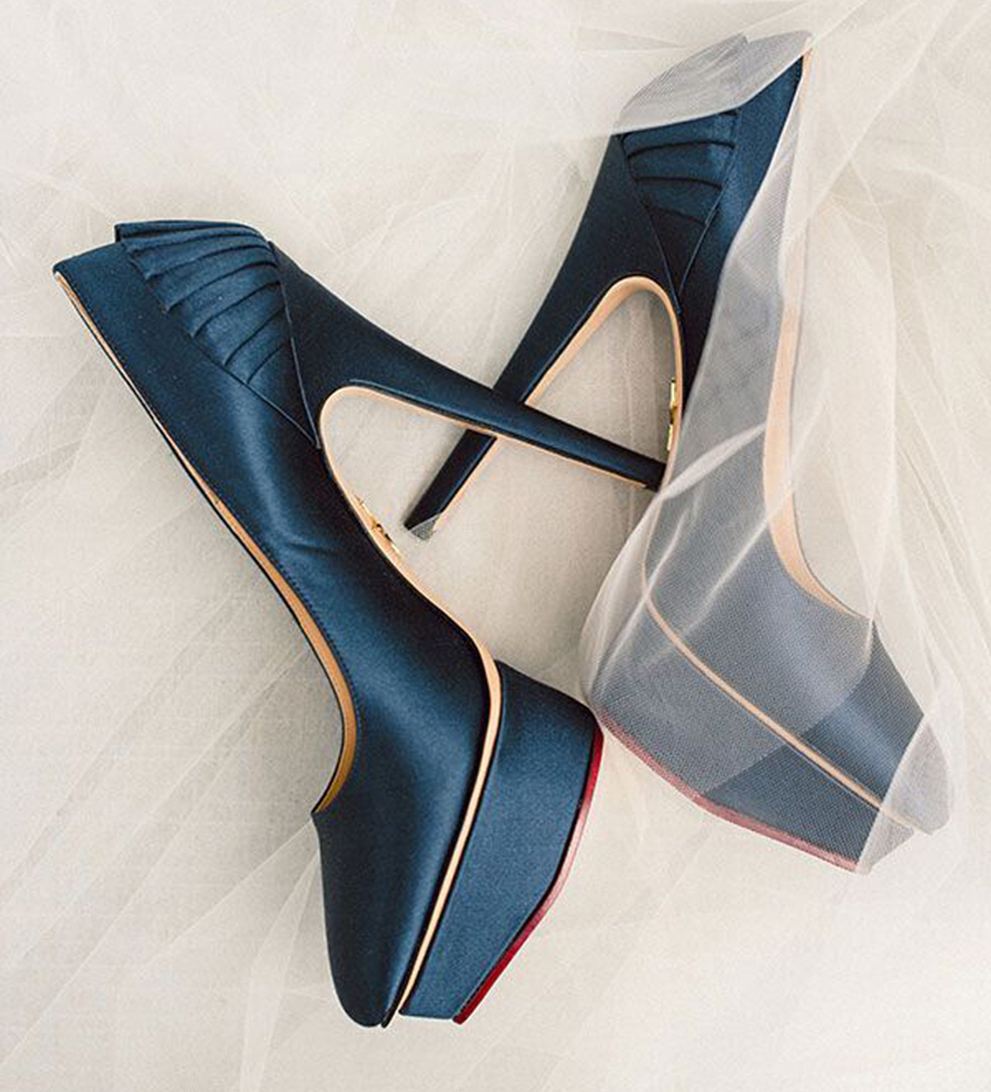 Navy Blue Peep Toe Shoes High Heels