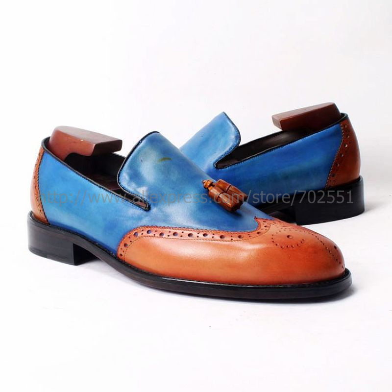 cie Free Shipping Custom Round Toe Glue Craft Handmade Tassel slip on Casual Calfskin Orange /Blue Leather Men's shoe Loafer 52(China (Mainland))
