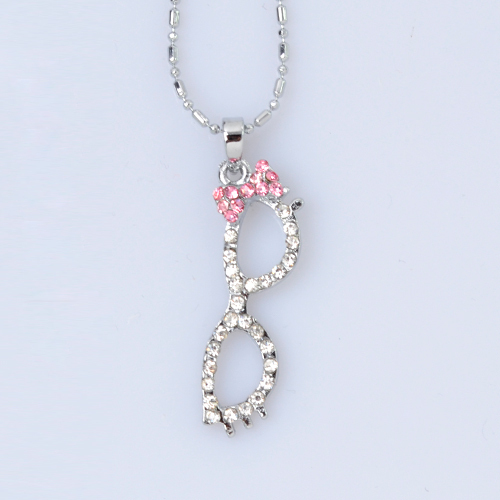 Min Order $10(can mix)Free Shipping 2013 New Fashion Jewelry Chains Cute Glasses Crystal Pendant Silver Necklace-NA0061