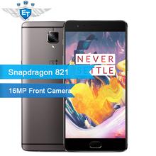 מקורי Oneplus 3 T Snapdragon 821 Quad Core 5.5 Inch 1080 P 6 GB זיכרון RAM 64 GB ROM 4 גרם FDD טלפון סלולרי 16.0MP טביעת אצבע תשלום מהיר(China (Mainland))