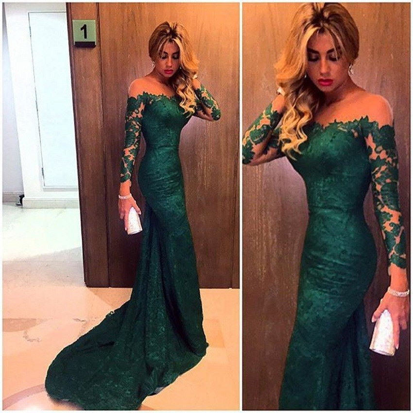 2016 Dark Green mermaid Lace Bridesmaid Dresses Custom made vestidod e festa long sleeves Bridesmaid Dress